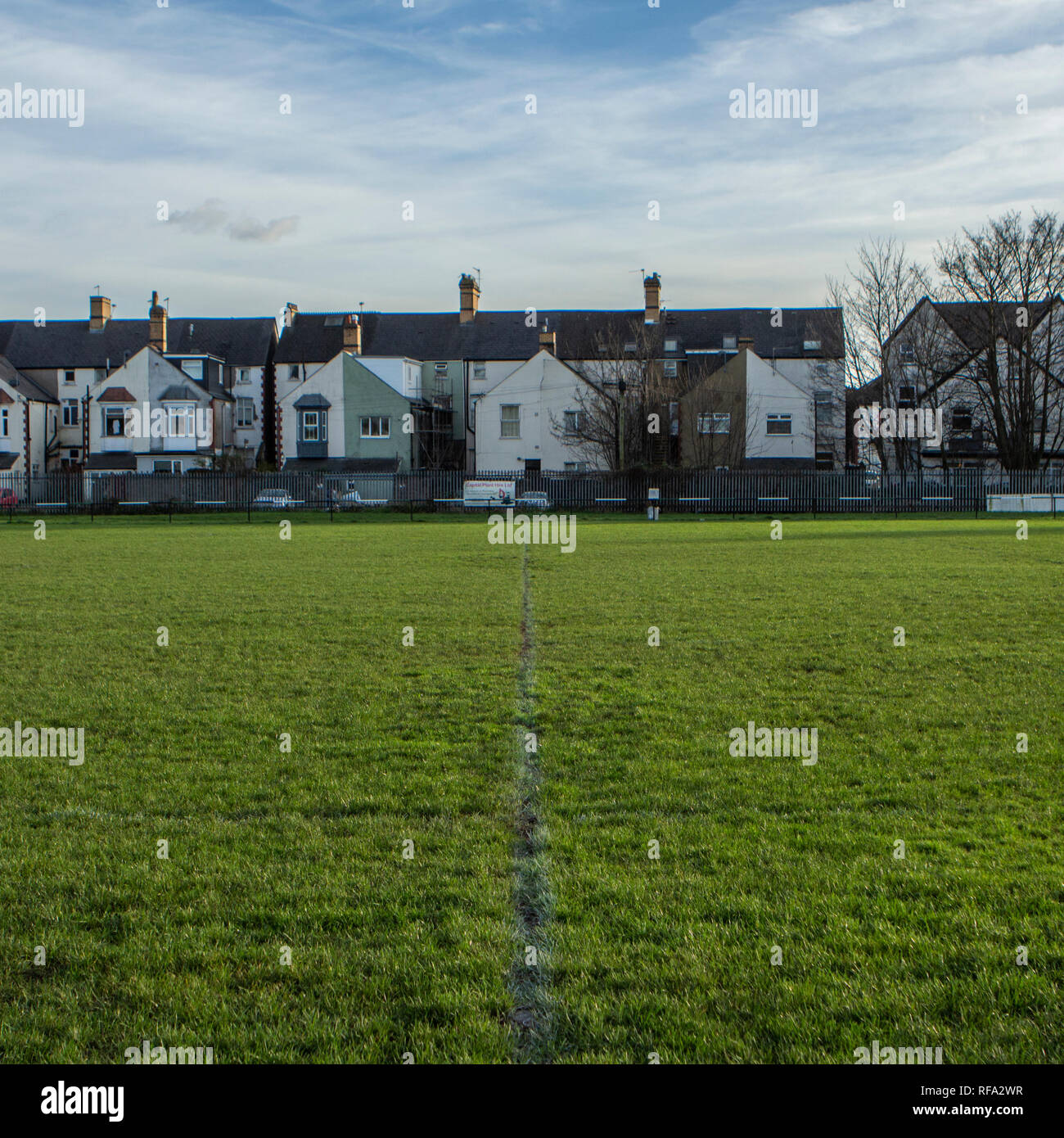 Study of the rugby pitch at St Peters, Cardiff - Stock Image