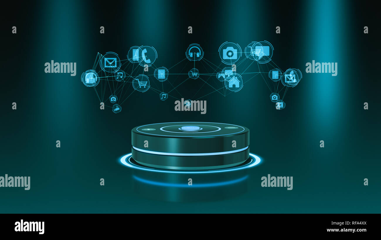 front view of a voice assistant device with iot icons, concept of smart home (3d render) - Stock Image