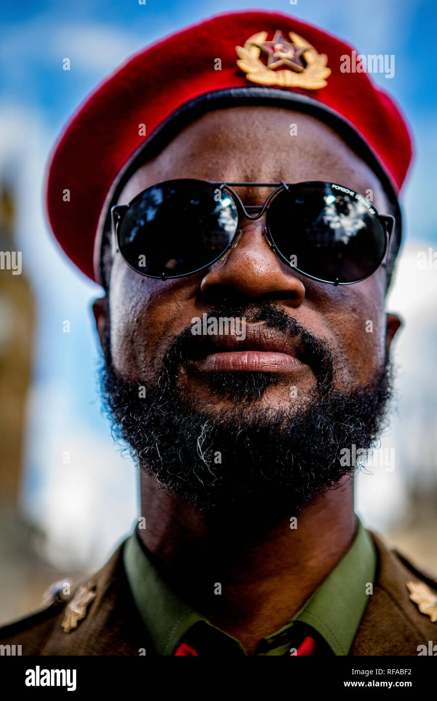 Portrait of a Namibian soldier - UK.army - Stock Image