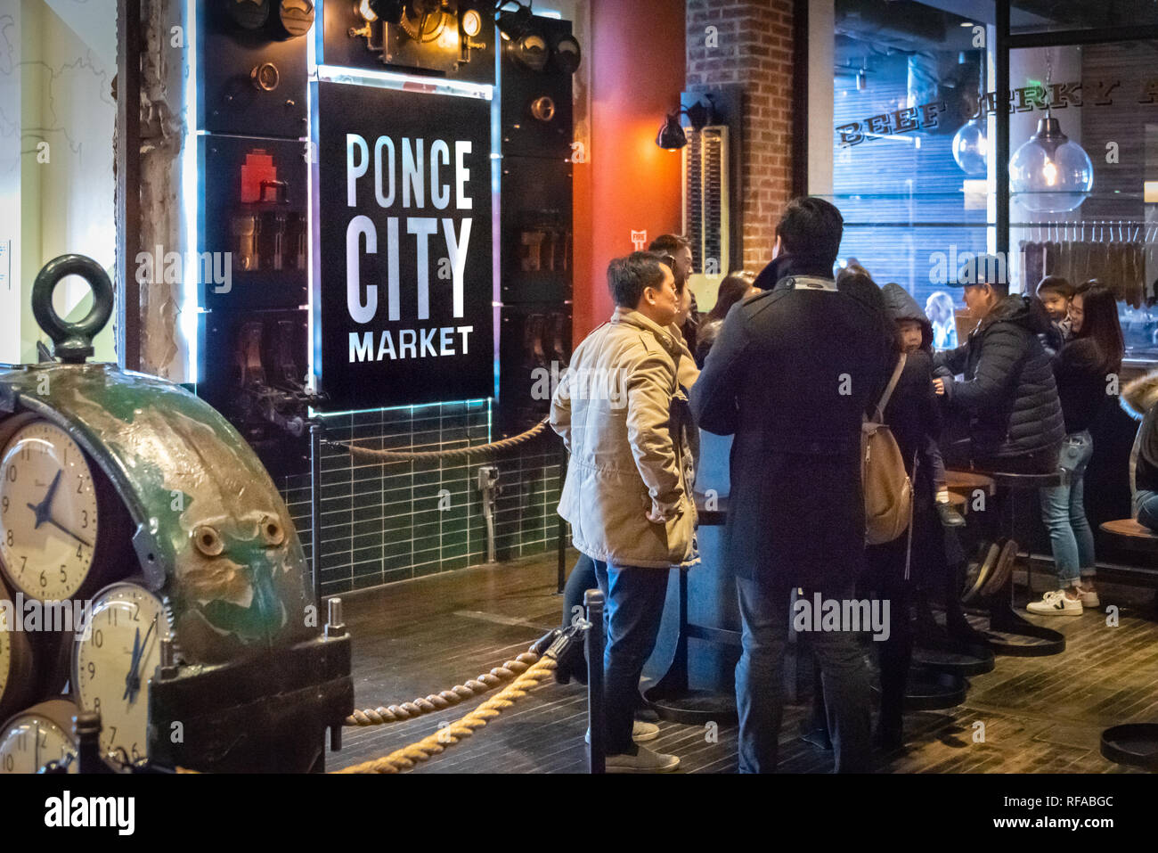 People gathering in the Central Food Court at Ponce City Market in Atlanta, Georgia. (USA) - Stock Image