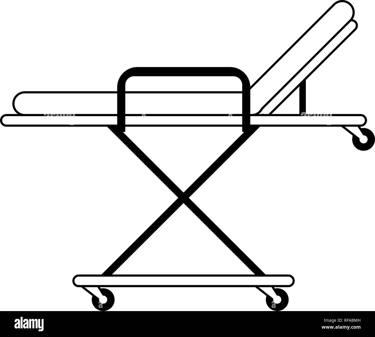 Medical stretcher symbol black and white - Stock Image