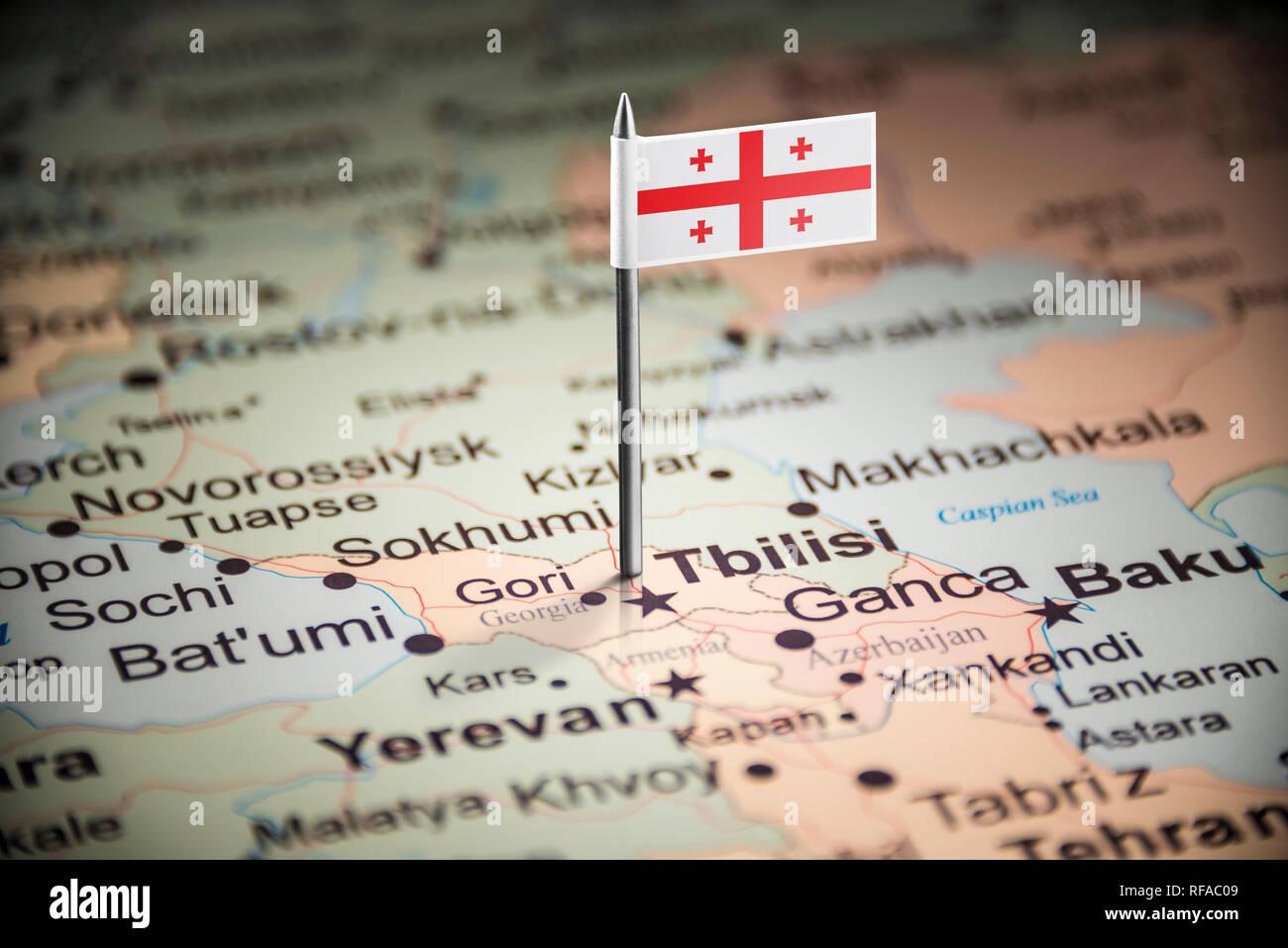 Georgia marked with a flag on the map Stock Photo: 233183561 ... on georgia events, georgia usa, georgia on the globe, georgia state, georgia maps cities in us, massachusetts on us map, georgia home, south dakota map, georgia asia, georgia attractions, georgia on the water, kyrgyzstan map, georgia country,