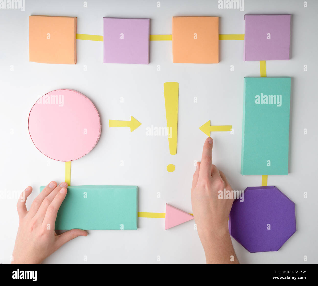 hand making a paper flowchart - stock image