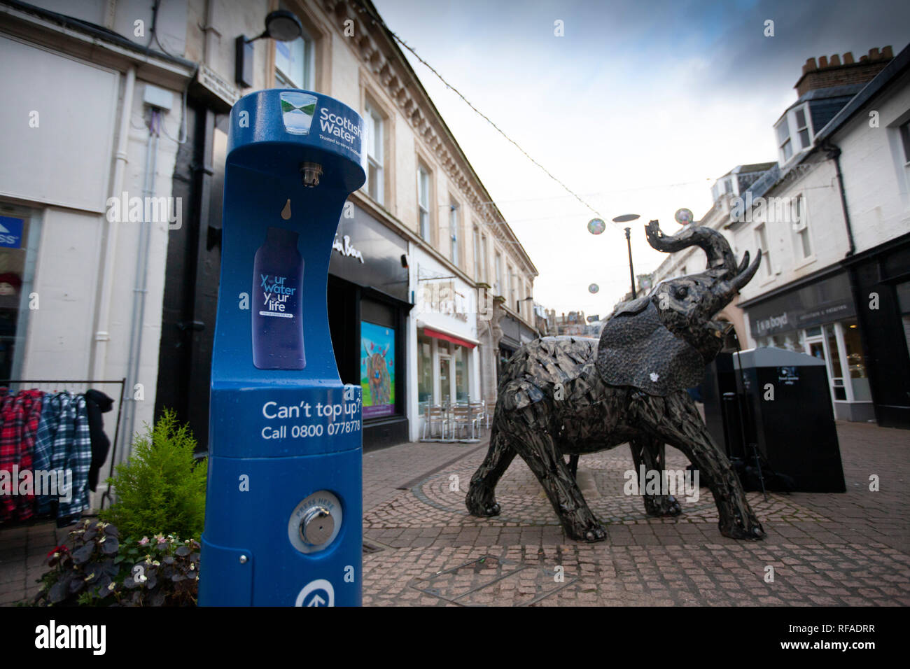 Public water fountain on Newmarket Street in Ayr. - Stock Image
