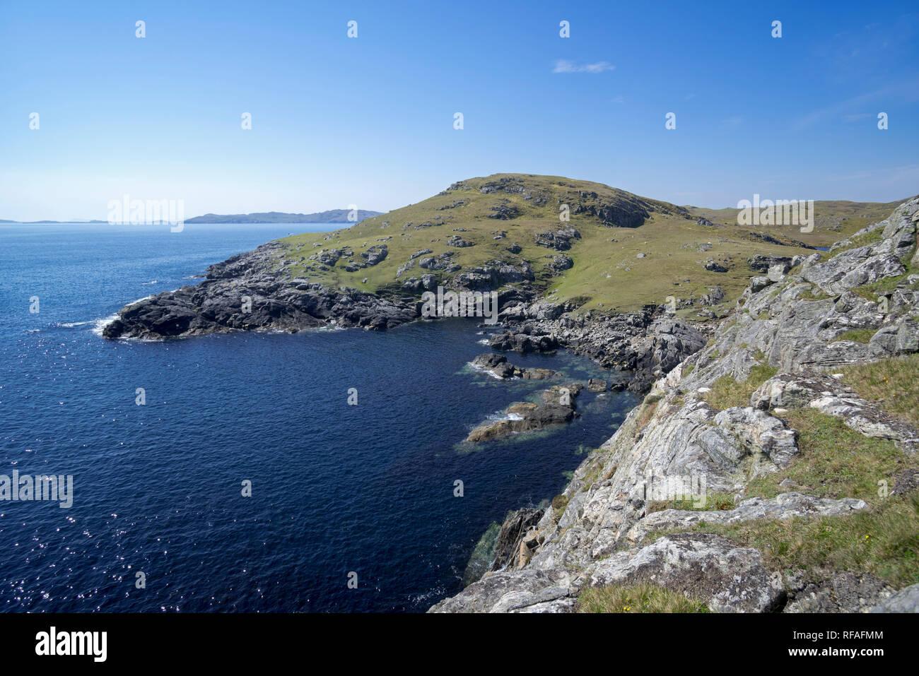 Rugged coastline at Lunna Ness, Mainland, Shetland Islands, Scotland, UK - Stock Image
