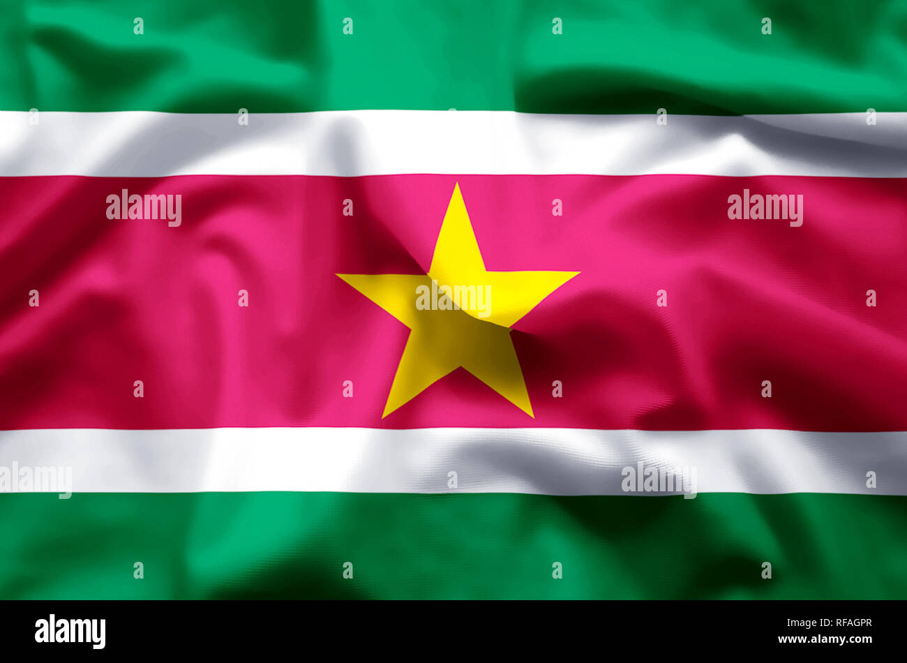 Suriname stylish waving and closeup flag illustration. Perfect for background or texture purposes. - Stock Image