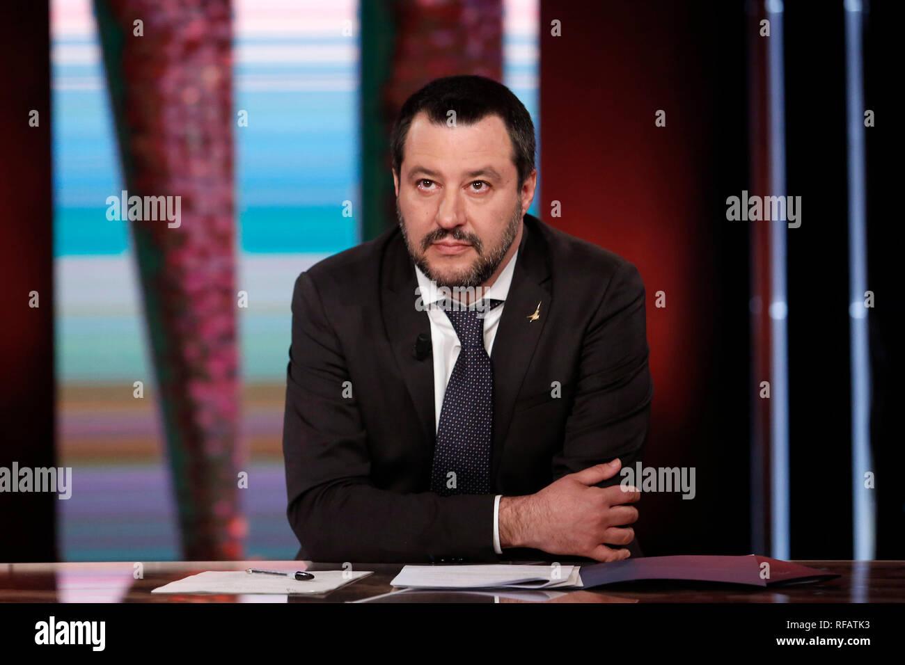 Matteo Salvini  Rome January 24th 2019. The Italian Minister of Internal Affairs appears as a guest on the tv show Povera Italia. Foto Samantha Zucchi Insidefoto - Stock Image