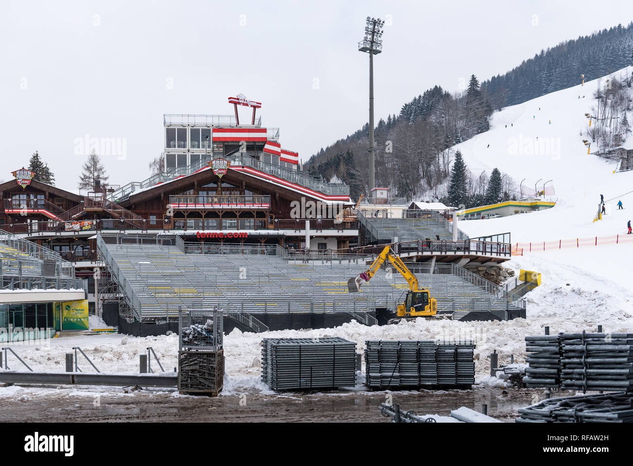 Schladming, Styria, Austria. 24th Jan, 2019. Construction works on Planai Stadium befor The Nightrace in Schladming, Men's World Cup Night Slalom 29.01.2019 - 22nd Night Slalom on the Planai Credit: Tomasz Koryl/Alamy Live News - Stock Image