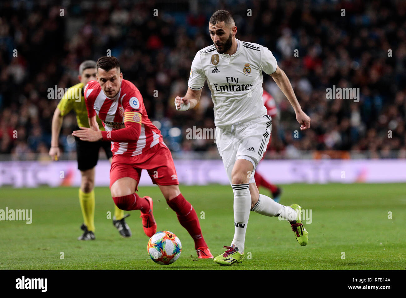 Real Madrid's Karim Benzema during Copa del Rey match between Real Madrid and Girona FC at Santiago Bernabeu. (Final score: Real Madrid 4 - Girona FC 2) - Stock Image