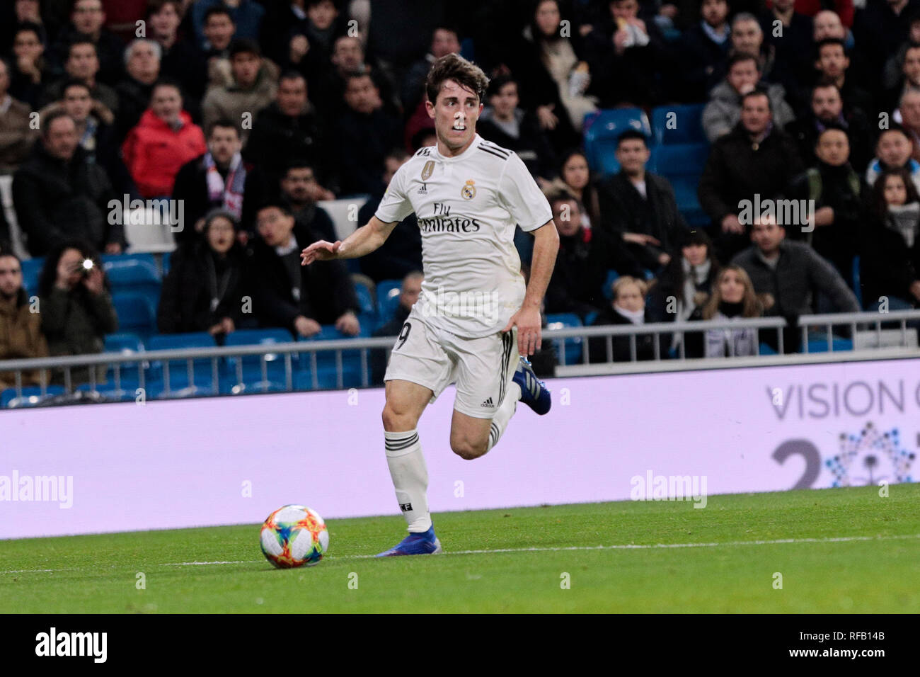 Real Madrid's Alvaro Odriozola during Copa del Rey match between Real Madrid and Girona FC at Santiago Bernabeu Stadium. (Final score: Real Madrid 4 - Girona FC 2) - Stock Image