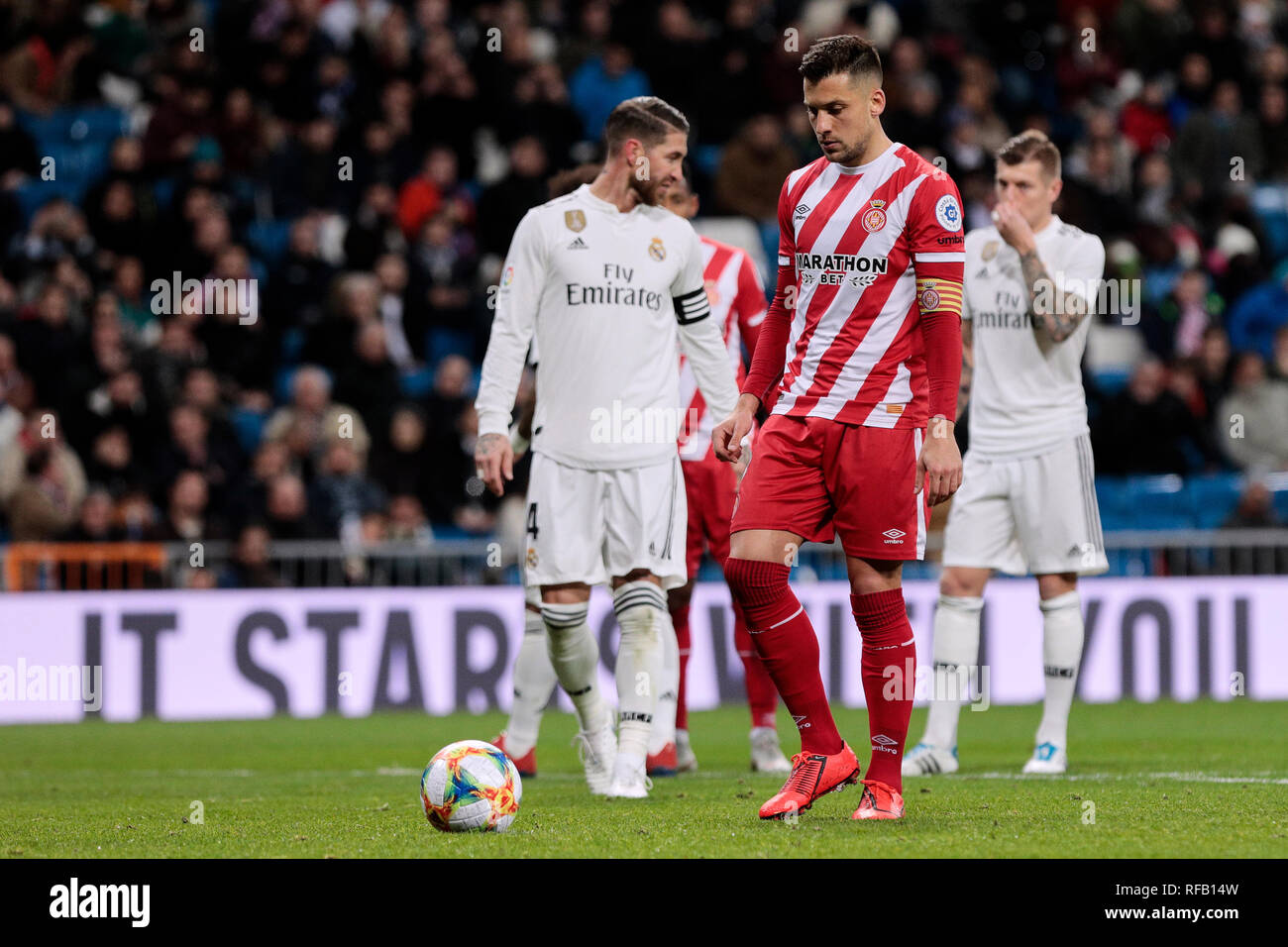 Girona FC's Alex Granell during Copa del Rey match between Real Madrid and Girona FC at Santiago Bernabeu Stadium. (Final score: Real Madrid 4 - Girona FC 2) - Stock Image