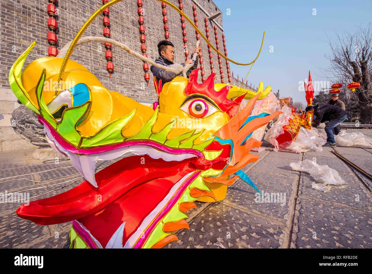 Weifang China S Shandong Province 24th Jan 2019 Workers Arrange A Dragon Shaped Lantern In The Qingzhou