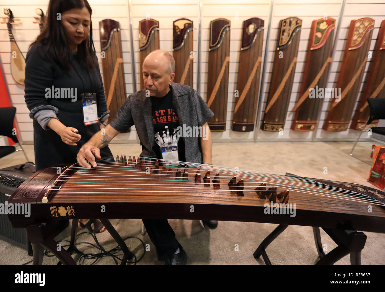 Anaheim, USA  24th Jan, 2019  A man learns to play Chinese