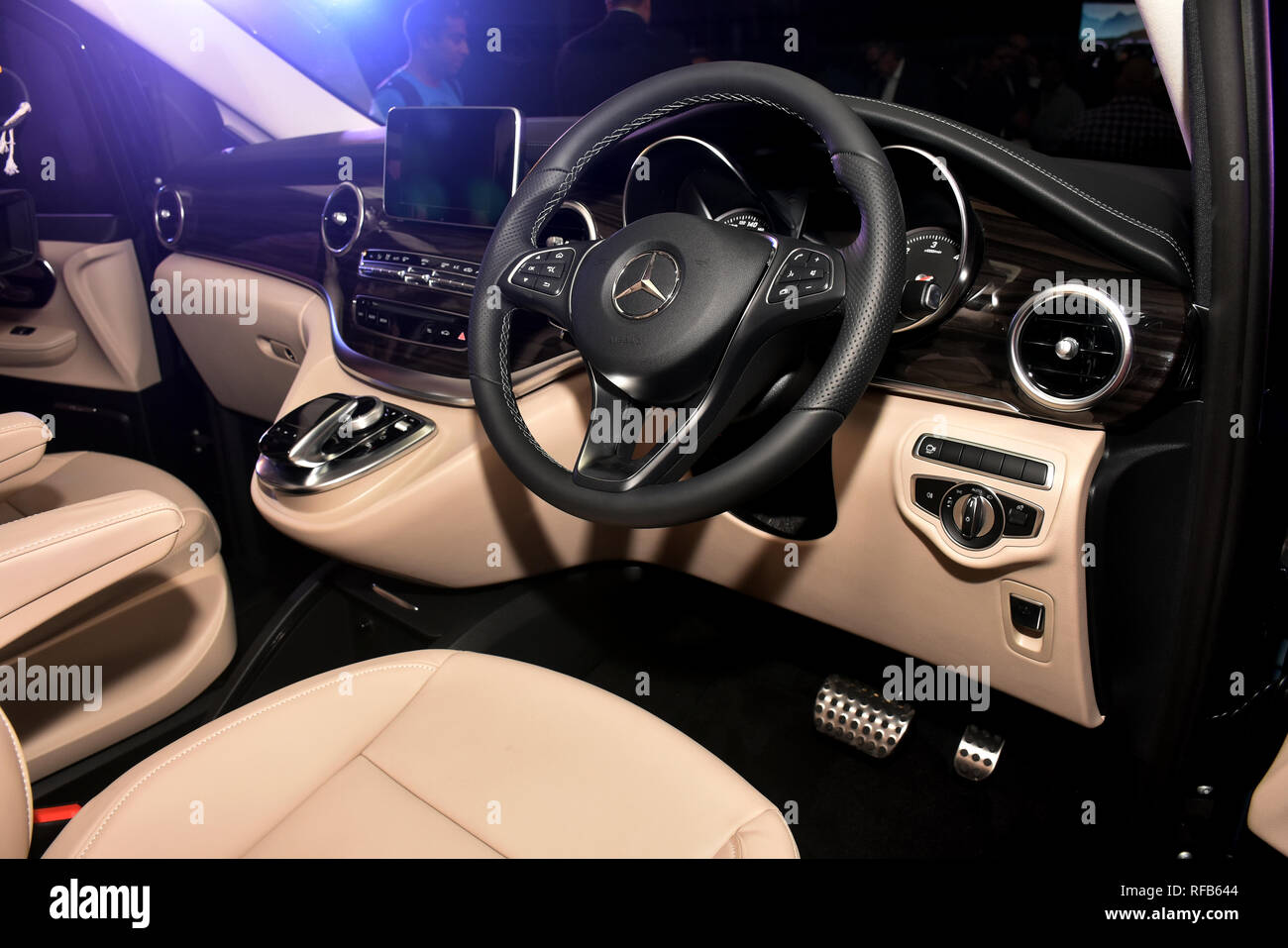Mumbai, India. 24th Jan, 2019. Interior view of the MPV that gets a new multi-functional steering wheel and a large twin-pod instrument cluster with a MID unit at the centre. The new Mercedes-Benz V-Class will be sold in India as a completely built unit (CBU) priced from 68.40 Lakh and will be imported from Spain. Credit: Azhar Khan/SOPA Images/ZUMA Wire/Alamy Live News - Stock Image
