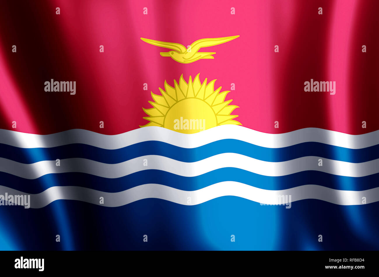 Kiribati stylish waving and closeup flag illustration. Perfect for background or texture purposes. - Stock Image