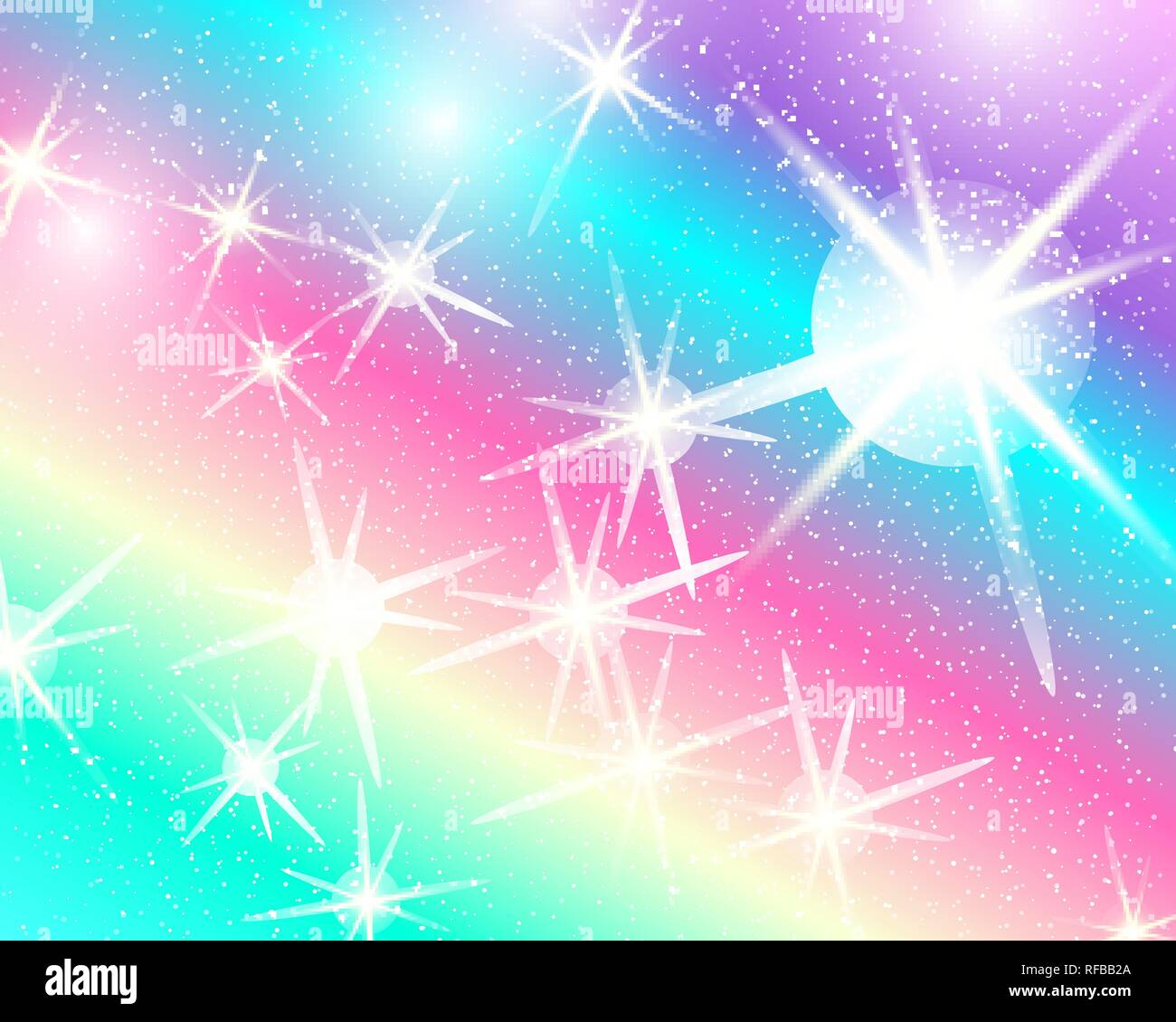 unicorn rainbow background holographic sky in pastel color bright mermaid pattern in princess colors vector illustration fantasy gradient colorful RFBB2A