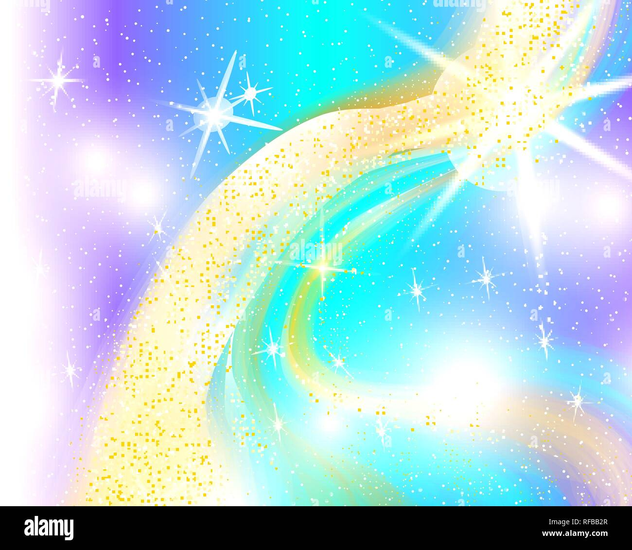 unicorn rainbow background holographic sky in pastel color bright mermaid pattern in princess colors vector illustration fantasy gradient colorful RFBB2R