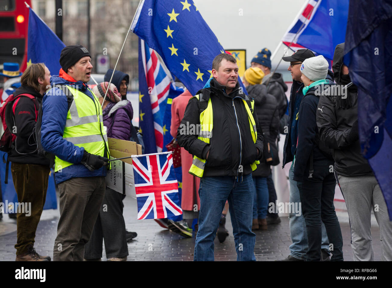 Far-Right protesters outside Houses of Parliament in London, demonstrate to Leave the EU on 29th March 2019 to coincide with the referendum result. - Stock Image