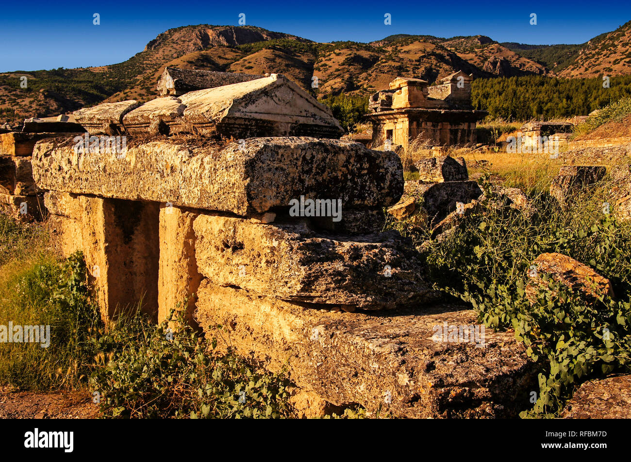 UNESCO World Heritage Site. Ruins of the ancient city Hierapolis. Pamukkale, Denizli Province, Turkey - Stock Image