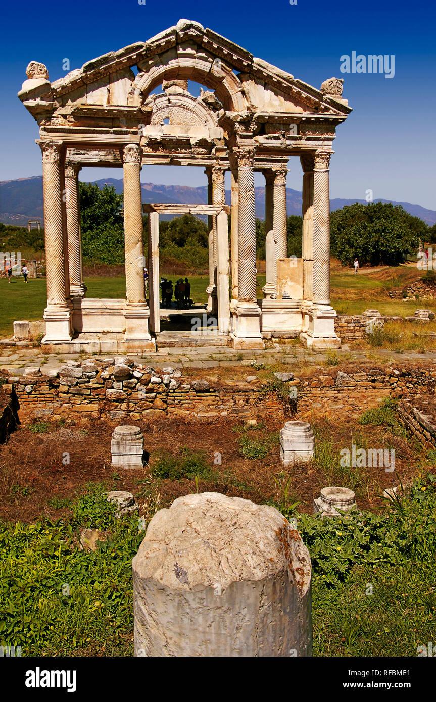 Tetrapylon of Aphrodite. Ruins of Aphrodisias. Ancient Greece. Aydin Province, Turkey - Stock Image