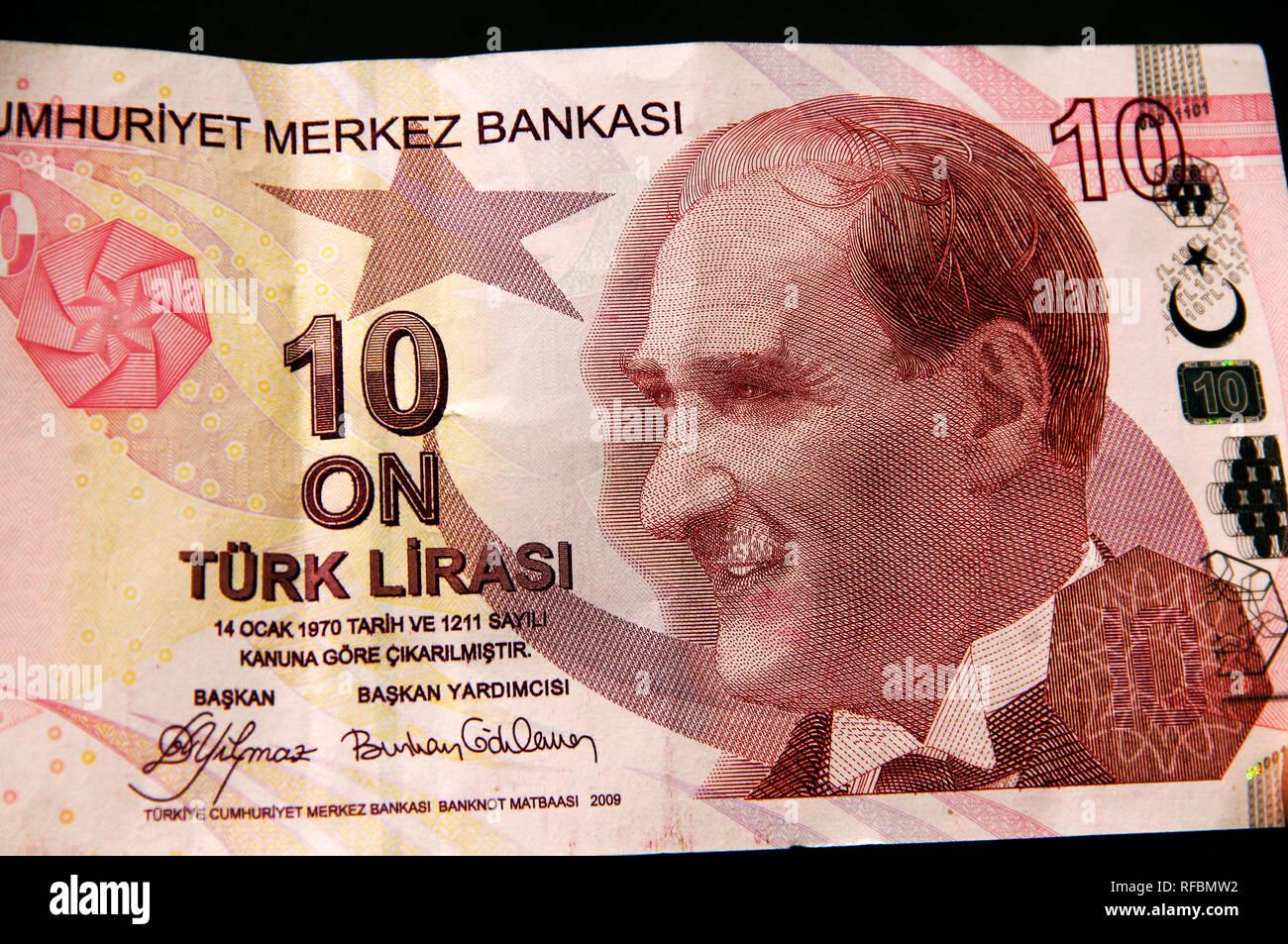 Ten Turkish Lira bank note, with Atatürk on. Turkey Stock Photo