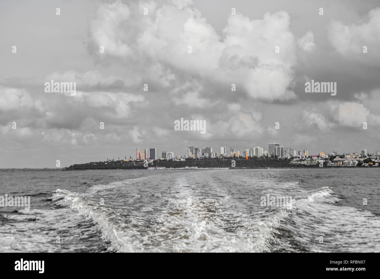 Beautiful Maputo skyline taken from a boat trip to Portuguese Island Stock Photo