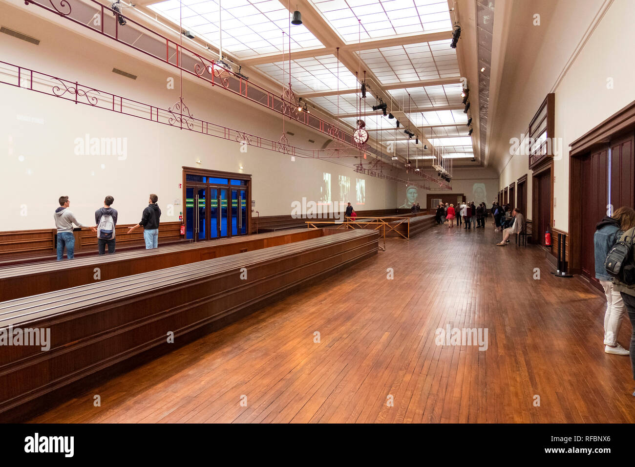 Cherbourg-Octeville, France - August 26, 2018: luggage compartment of the transatlantic ferry terminal at the Cite de la Mer museum. Cherbourg, France - Stock Image