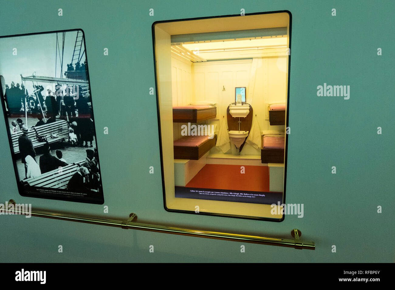 Cherbourg-Octeville, France - August 26, 2018: Mockup of the 3rd class cabin of the Titanic at the Cite de la Mer museum of Cherbourg, France. - Stock Image