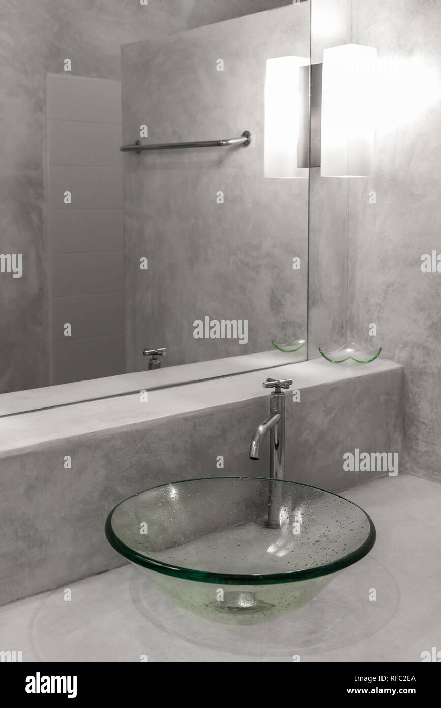 Interior of a modern bathroom. polished concrete style Stock Photo