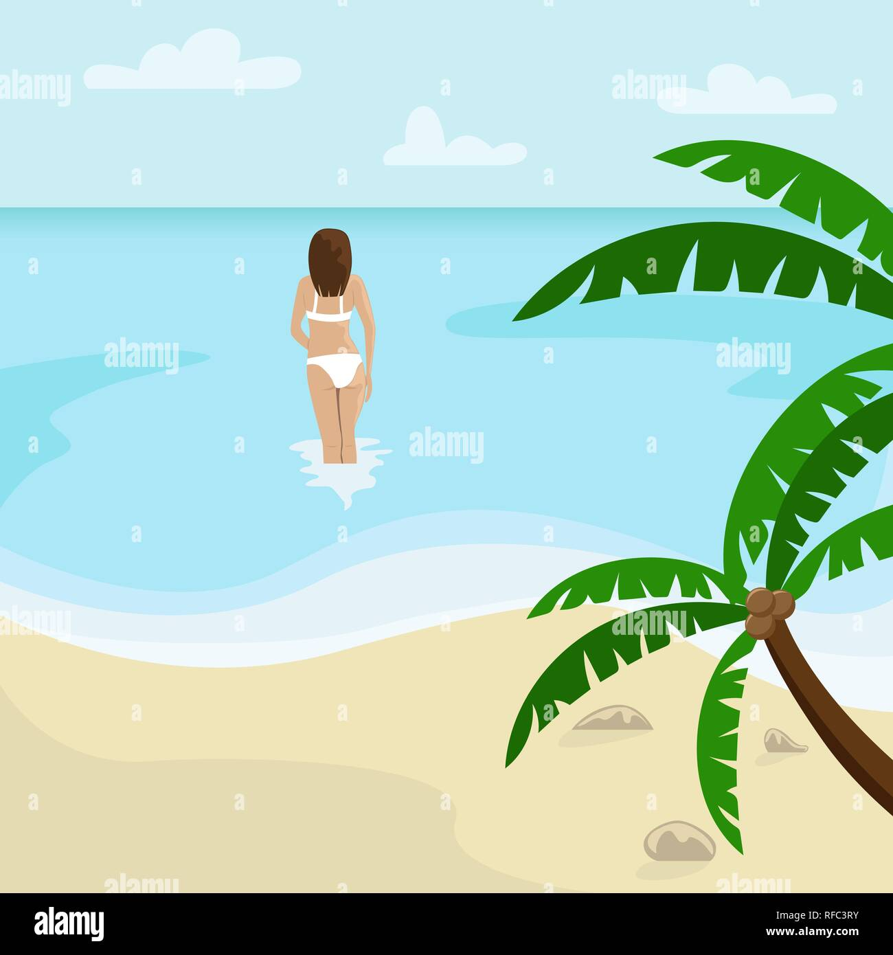 Beach landscape with palm trees. Girl in a swimsuit is in the sea. Flat vector illustration. - Stock Image