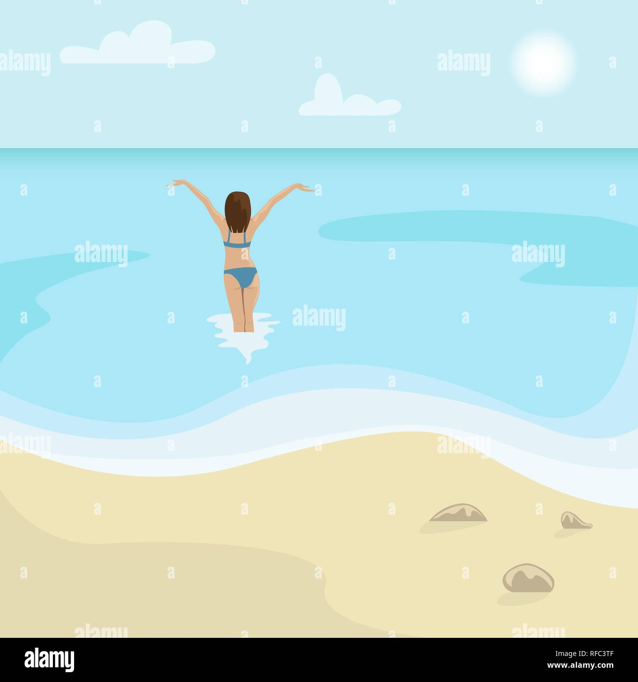 Beach landscape. Girl in a swimsuit is in the sea. Flat vector illustration. - Stock Vector