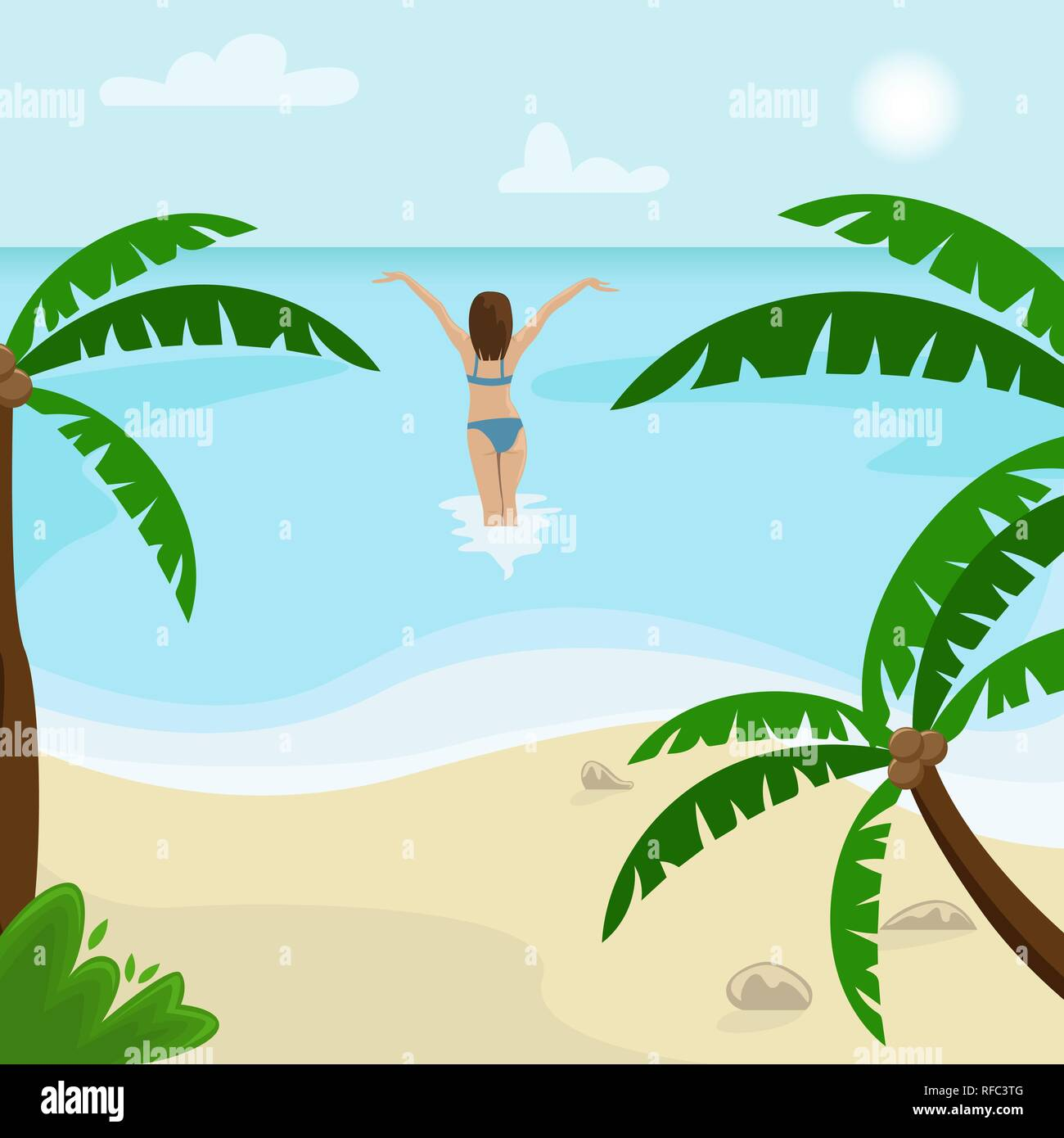 Beach landscape with palm trees. Girl in a swimsuit is in the sea. Flat vector illustration. - Stock Vector