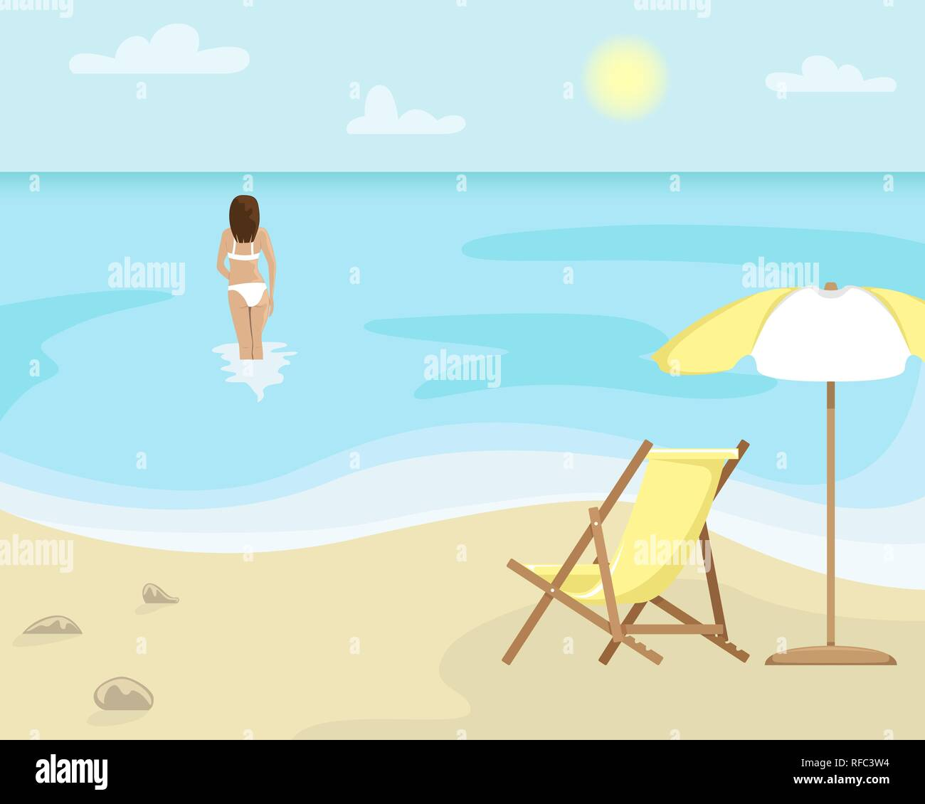 Beach landscape with sun lounger and sun umbrella. Girl in a swimsuit is in the sea. Flat vector illustration. - Stock Image