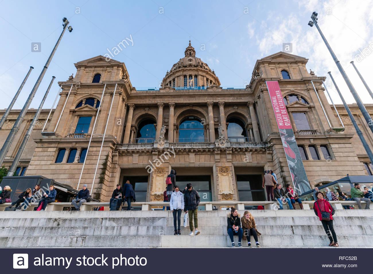Museu Nacional d'Art de Catalunya (The art History museum) in Barcelona during winter, Spain Stock Photo