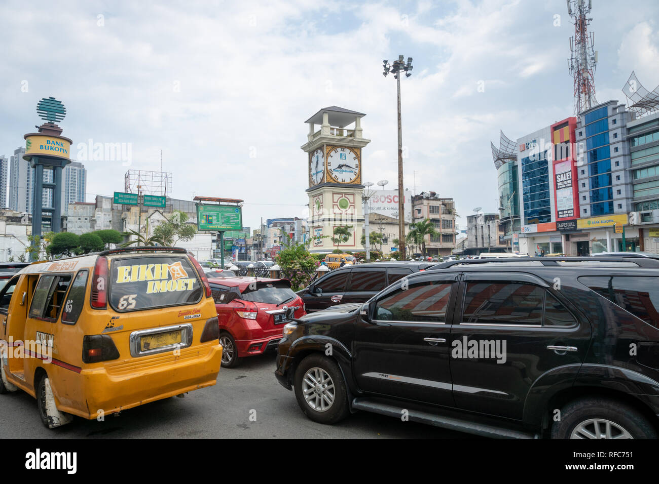 Medan, Indonesia - January 2018: Medan street and traffic in the central area in Medan, North Sumatra, Indonesia. - Stock Image