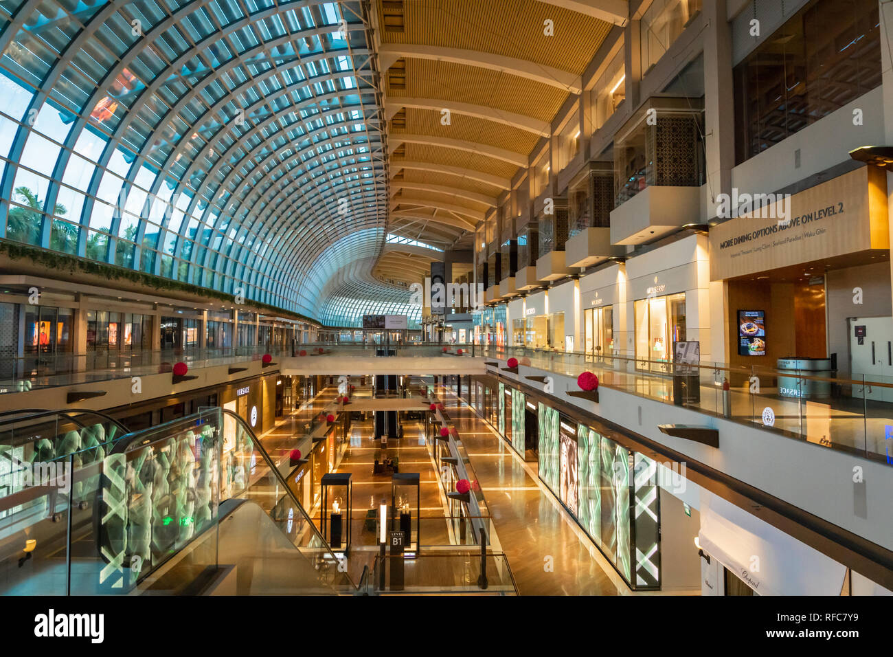 Singapore - January 2019: Marina Bay Sands shopping mall interior architecture. Marina Bay Sands is an integrated resort fronting Marina Bay in Singap - Stock Image
