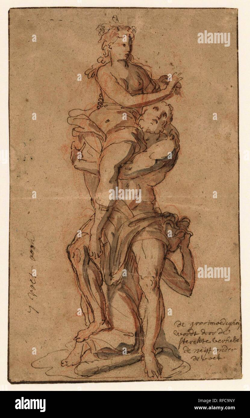Design for a sculpture group with the personifications of Generosity, Power and Envy. Draughtsman: anonymous. Dating: 1600 - 1699. Measurements: h 225 mm × w 140 mm. Museum: Rijksmuseum, Amsterdam. Stock Photo