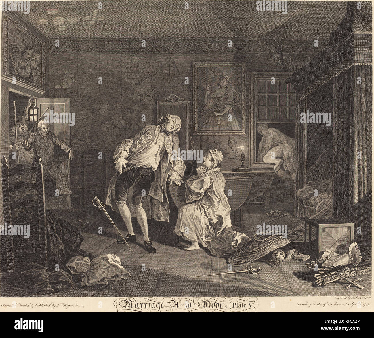 Marriage a la Mode: pl.5. Dated: 1745. Medium: etching and engraving. Museum: National Gallery of Art, Washington DC. Author: Simon Francois Ravenet I after William Hogarth. after William Hogarth. William Hogarth. SIMON FRANCIS RAVENET. Stock Photo