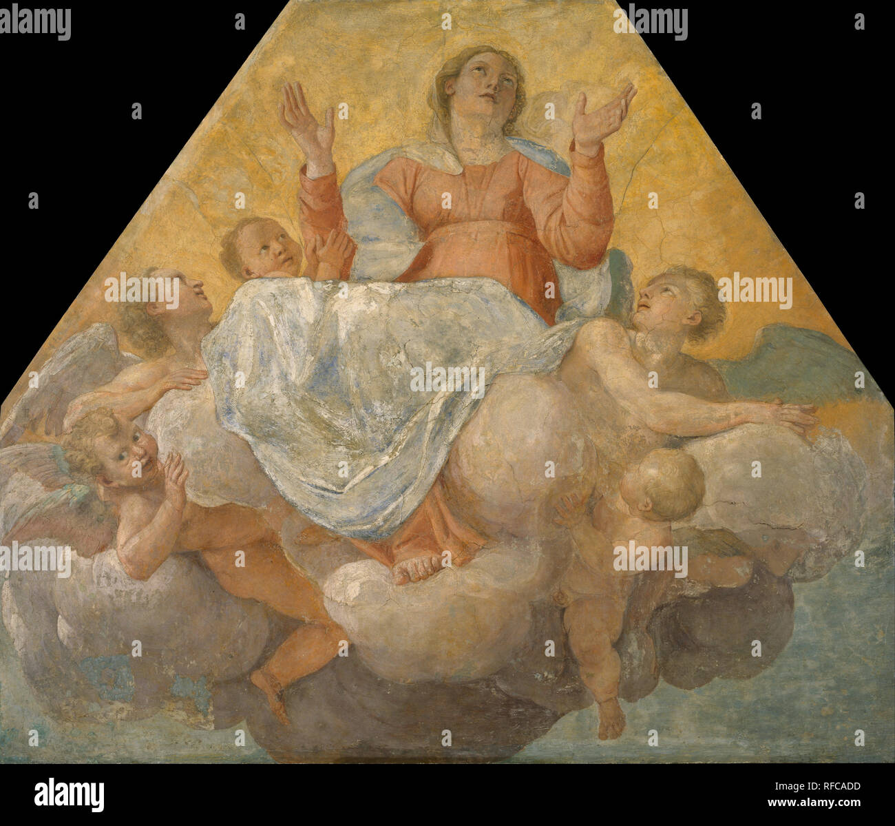 Assumption of the Virgin. Date/Period: End of 1604 - beginning of 1605. Mural painting. Fresco transferred to canvas. Height: 2,080 mm (81.88 in); Width: 2,430 mm (95.66 in). Author: Annibale Carracci. CARRACCI, ANNIBALE. - Stock Image
