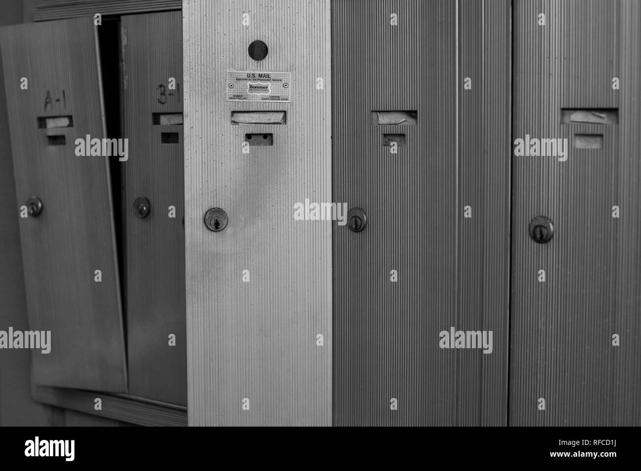 Mailboxes broken into - Stock Image
