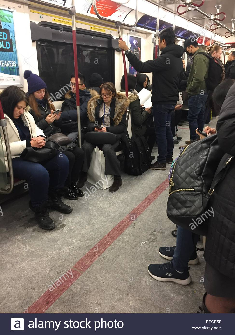 TTC subway car during the morning commute in Toronto, Ontario, Canada. - Stock Image