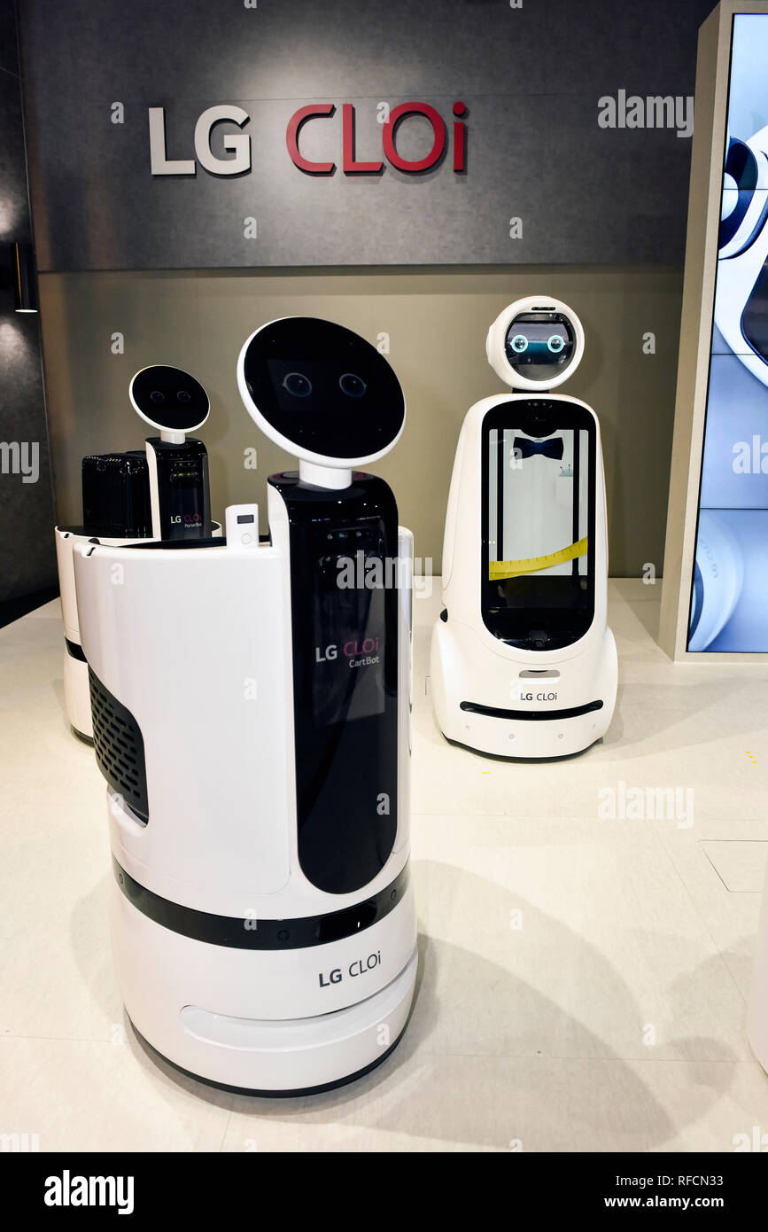 LG CLOi Robot at the 2019 CES, Consumer Electronics Show in Las Vegas, Nevada - Stock Image