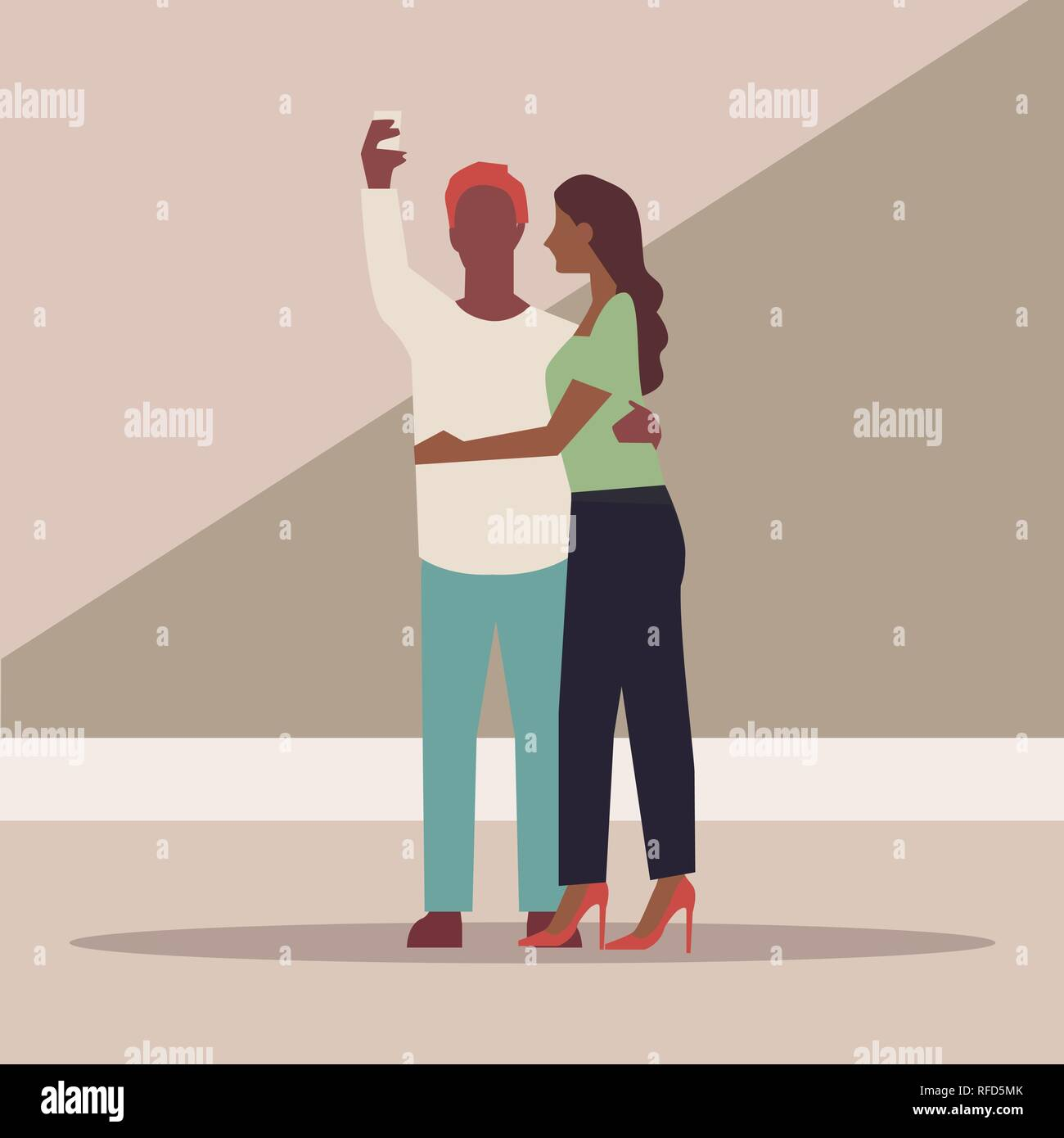 Happy couple are take selfie. Man and woman are photographed together. Vector illustration in a flat style - Vector - Stock Vector