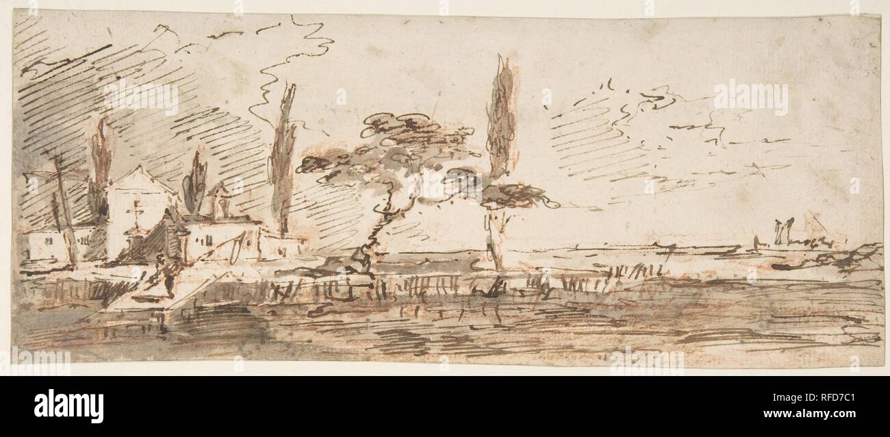 The Island of Anconetta (recto); Two Feet Wearing Pointed Shoes (verso). Artist: Francesco Guardi (Italian, Venice 1712-1793 Venice). Dimensions: 4 9/16 x 11 5/16in. (11.6 x 28.8cm). Date: 1712-93. Museum: Metropolitan Museum of Art, New York, USA. - Stock Image