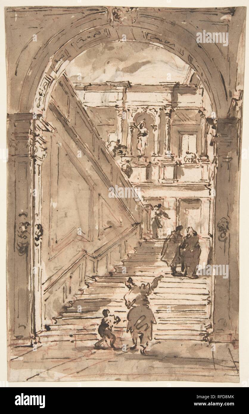 Architectural Fantasy: Figures on a Grand Staircase (recto); Studies for the Frame of a Shaped Field (verso). Artist: Francesco Guardi (Italian, Venice 1712-1793 Venice). Dimensions: 9 15/16 x 6 1/4in. (25.3 x 15.8cm). Date: 1712-93. Museum: Metropolitan Museum of Art, New York, USA. - Stock Image