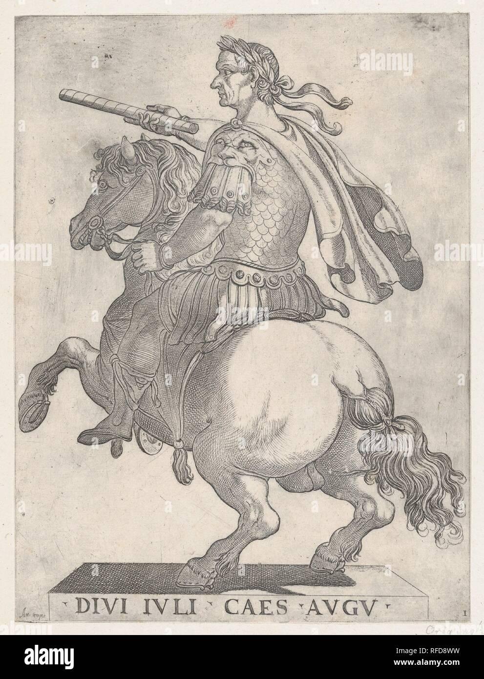 Plate 1: Emperor Julius Caesar on Horseback, from 'The First Twelve Roman Caesars'. Artist: Antonio Tempesta (Italian, Florence 1555-1630 Rome). Dimensions: Sheet: 11 7/8 × 8 7/8 in. (30.2 × 22.5 cm). Publisher: Giovanni Battista di Lazzaro Panzera da Parma (Italian, born 1541, active Rome 1577-98). Date: 1596. Museum: Metropolitan Museum of Art, New York, USA. Stock Photo