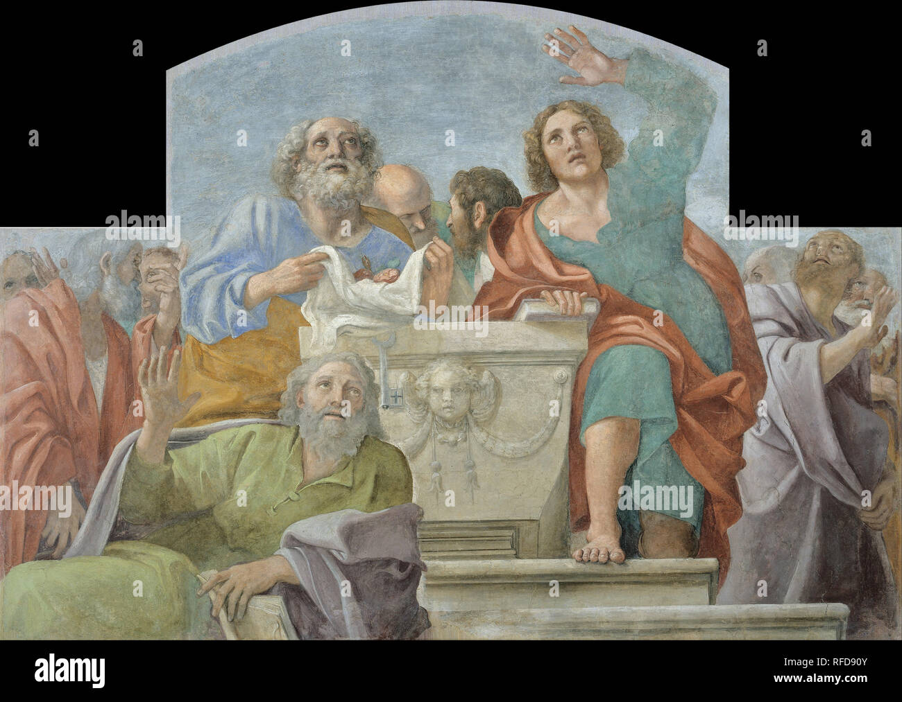 Apostles around the Empty Sepulchre. Date/Period: End of 1604 - beginning of 1605. Painting. Fresco transferred to canvas. Height: 1,930 mm (75.98 in); Width: 2,725 mm (107.28 in). Author: Annibale Carracci. FRANCESCO ALBANI. CARRACCI, ANNIBALE. - Stock Image