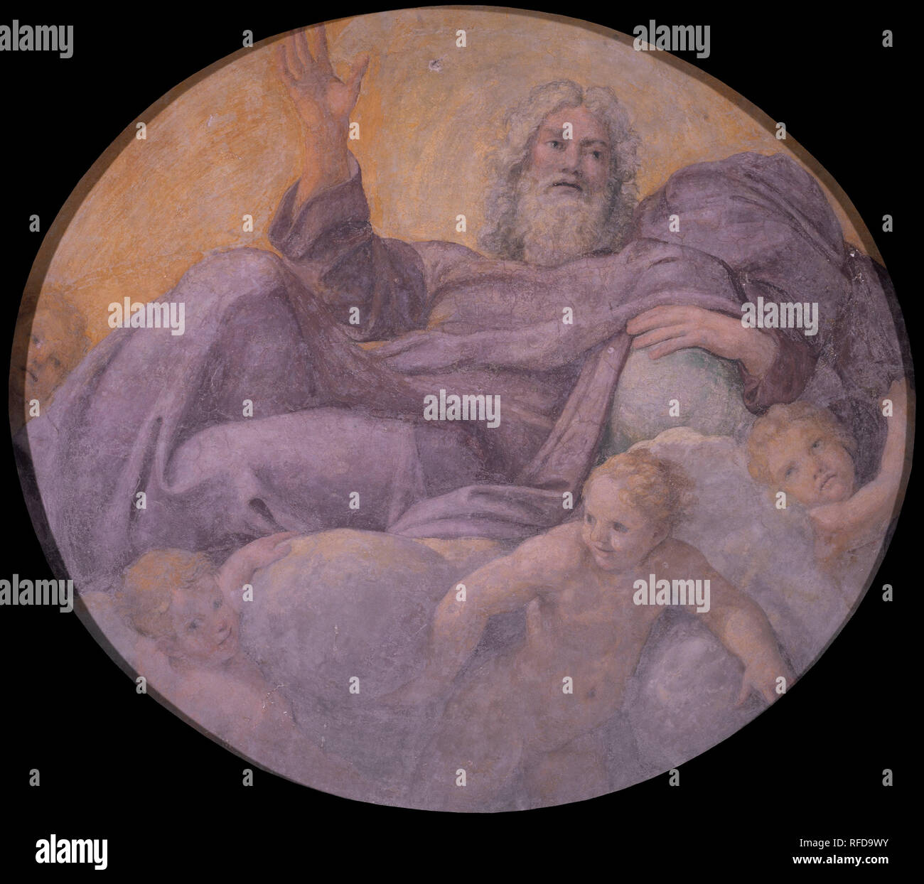 Everlasting Father. Date/Period: From 1604 until 1605. Painting. Fresco transferred to canvas. Diameter: 214 cm (84.2 in). Author: Annibale Carracci. FRANCESCO ALBANI. CARRACCI, ANNIBALE. - Stock Image