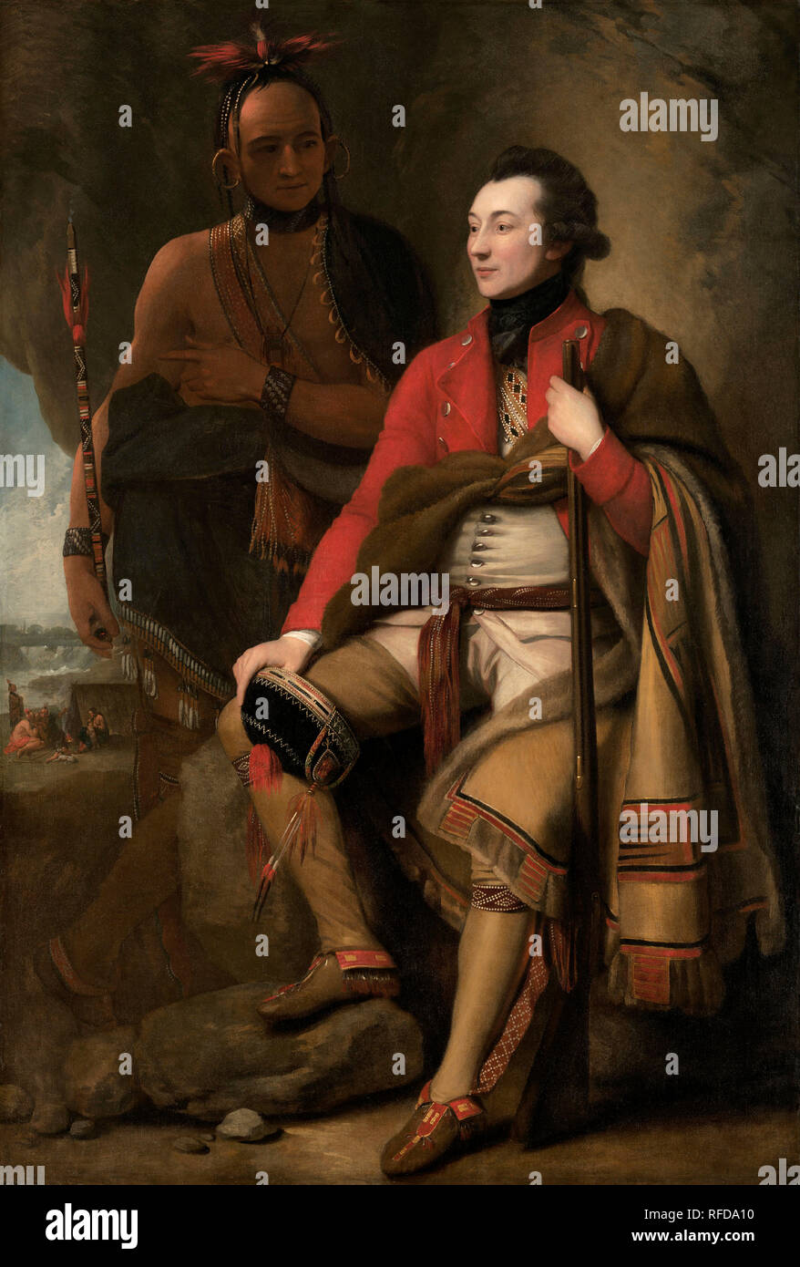 Colonel Guy Johnson and Karonghyontye (Captain David Hill). Dated: 1776. Dimensions: overall: 202 x 138 cm (79 1/2 x 54 5/16 in.)  framed: 222.6 x 160 x 9.5 cm (87 5/8 x 63 x 3 3/4 in.). Medium: oil on canvas. Museum: National Gallery of Art, Washington DC. Author: Benjamin West. WEST, BENJAMIN. - Stock Image