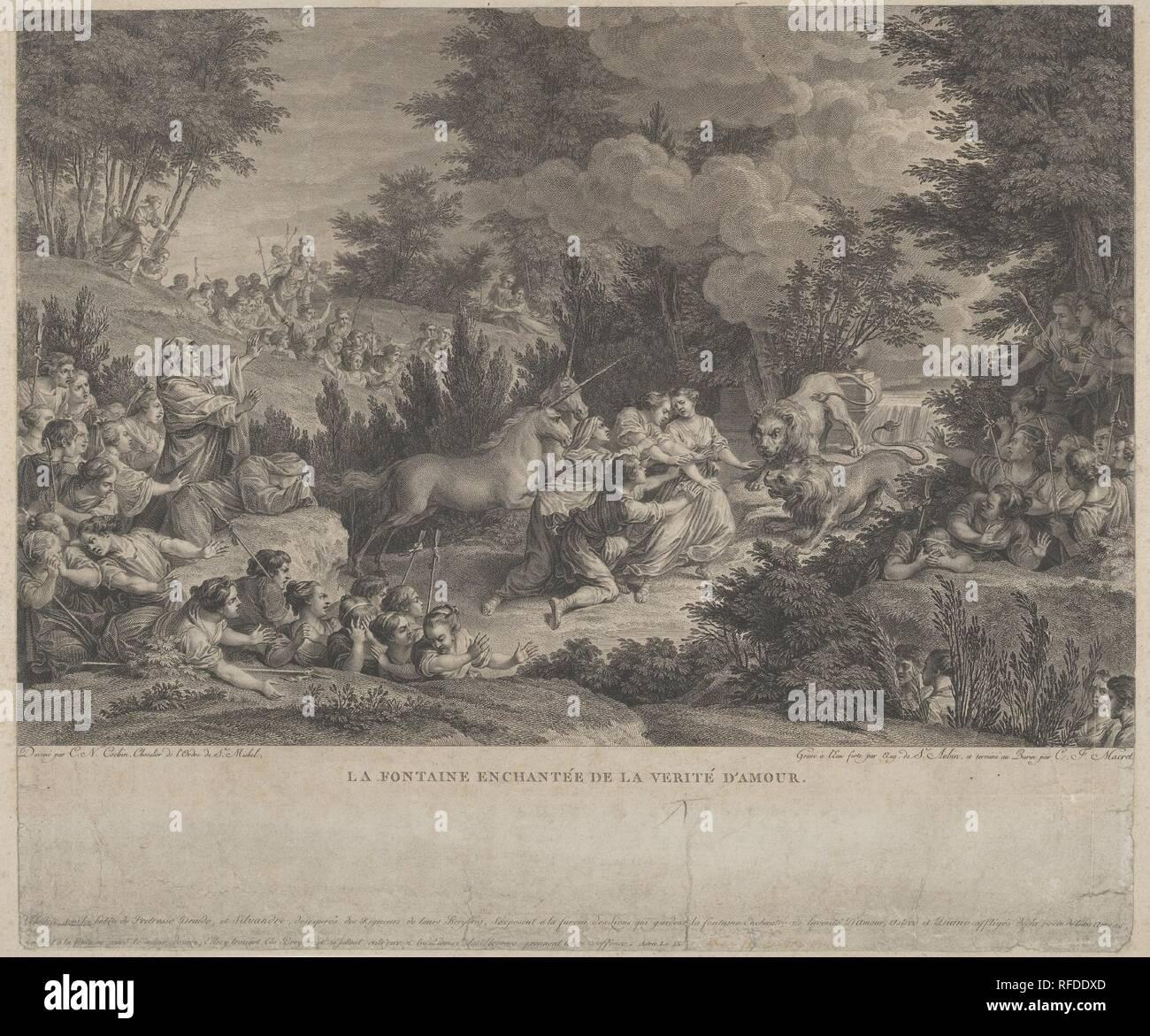 The Enchanted Fountain of Love's Truth (La Fontaine Enchantée de la Verité d'Amour). Artist: Augustin de Saint-Aubin (French, Paris 1736-1807 Paris); Charles François Adrien Macret (French, Abbeville 1751-1789 Paris). Dimensions: sheet: 11 1/4 x 13 3/8 in. (28.5 x 34 cm). Draftsman: Charles Nicolas Cochin II (French, Paris 1715-1790 Paris). Date: n.d.. Museum: Metropolitan Museum of Art, New York, USA. Stock Photo